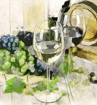 copas de vino, barril y uvas