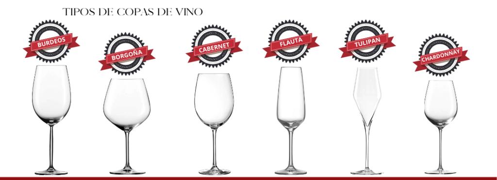 Nombres de las copas para vino - Burdeos, Borgoña, Cabernet, Flauta, Tulipán, Chardonnay