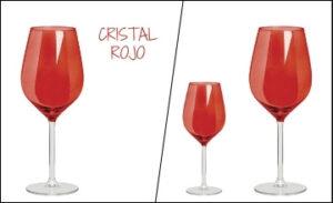 Copas de cristal rojas para vino