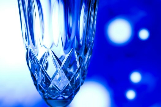 Copas de vino de cristal azul
